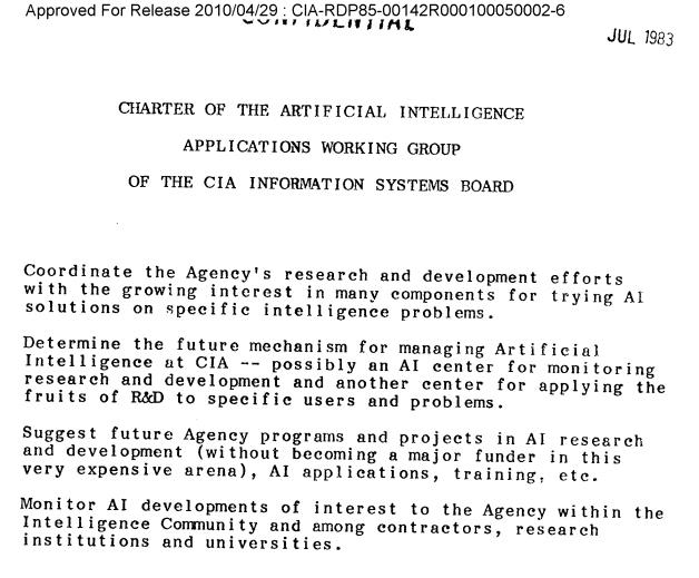 CHARTER OF THE ARTIFICIAL INTELLIGENCE APPLICATIONS WORKING GROUP OF THE CIA INFORMATION SYSTEMS BOARD