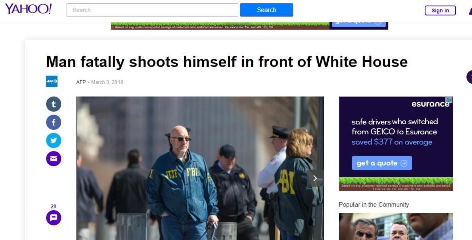Man fatally shoots himself in front of White House